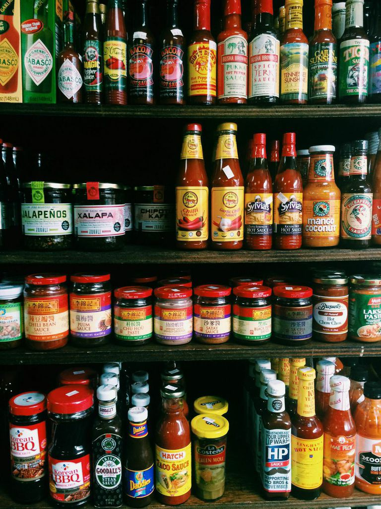 Rows of unique sauces line the shelves at Christina's.
