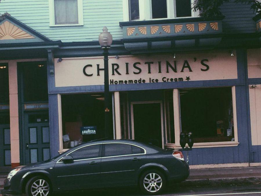 The cheery exterior of Christina's Homemade Ice Cream.